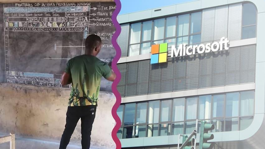 Kara Tahtada 'Word' Öğreten Öğretmene Microsoft'tan Bilgisayar Sözü