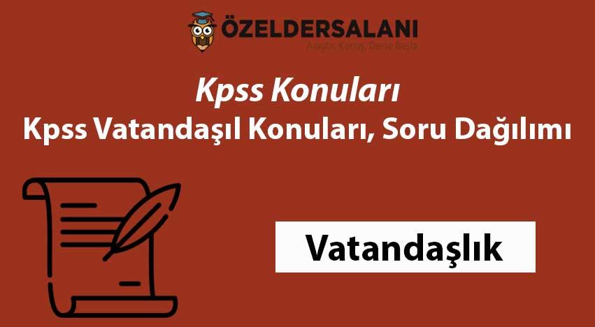KPSS Vatandaşlık Konuları ve Soru Dağılımı